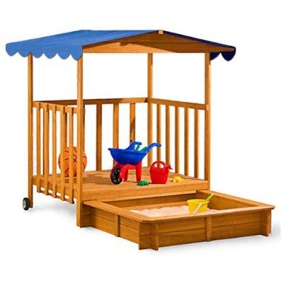 Holz Sandkasten Mit Uberdachter Spielveranda