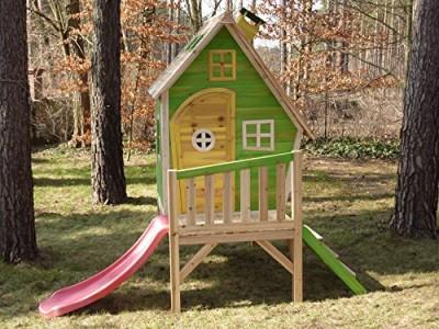 Kinderspielhaus Stelzenhaus aus Holz mit Rutsche