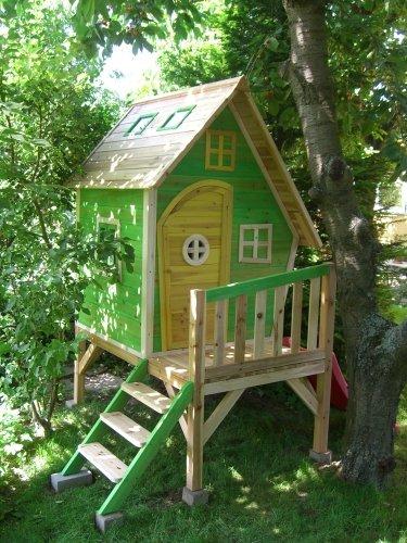 Kinderspielhaus Stelzenhaus aus Holz mit Rutsche Test