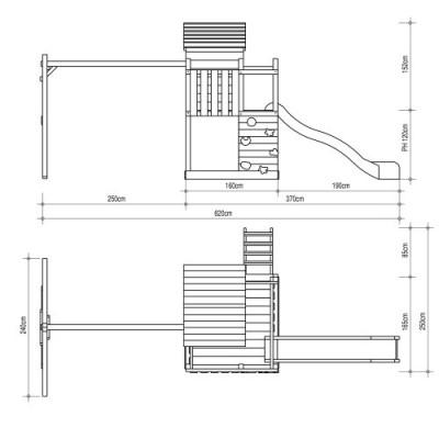 Stelzenhaus mit Rutsche Grundriss